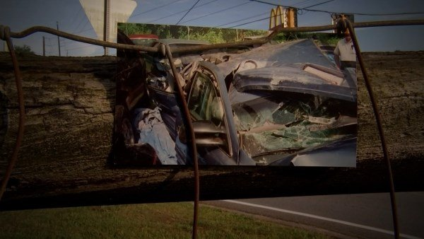 Crash scene on Father's Day 2000 (Source: Inman Family)