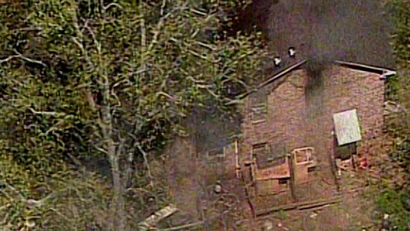 Aerial scene of home explosion in Roswell