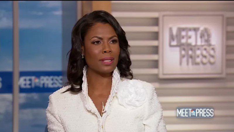 "Omarosa Manigault Newman, the former ""Apprentice"" star and estranged aide to President Donald Trump is seen here speaking to NBC's Meet the Press on Sunday, August 12, 2018."