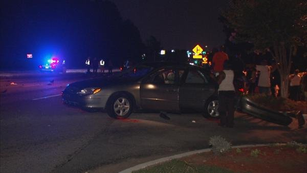 Mark Melvin/CBS Atlanta- The driver of a car in involved in a fatal motorcycle accident was not injured.