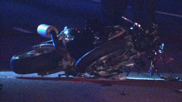 Mark Melvin/CBS Atlanta- A motorcyclist was killed early Wednesday on Highway 85.