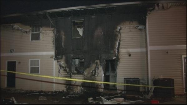 Mark Melvin/CBS Atlanta- Several townhomes were damaged in an overnight fire.