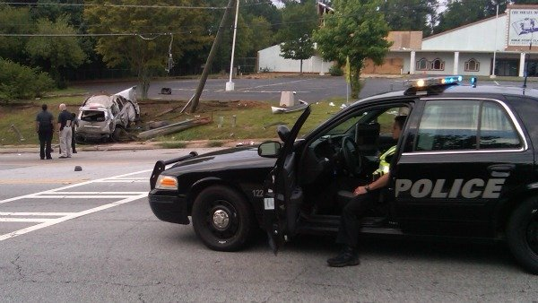 Steve White/CBS Atlanta- A section of Redan Road was closed for the investigation.