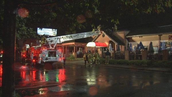 Joe Holland/CBS Atlanta- Fire crews worked quickly to knock down what is believed to be a lightning fire.