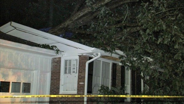 Richard Breaden/CBS Atlanta- A home in Alpharetta was damaged by a falling tree.