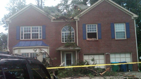 Home on Fallbrook Drive in Gwinnett County was hit by a tree