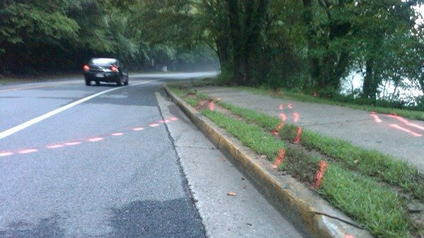 Richard Breaden/CBS Atlanta - Paint markings show the path the car took
