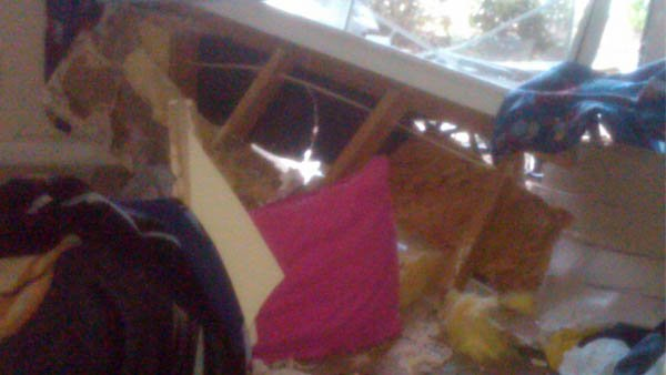 Damage from inside apartment