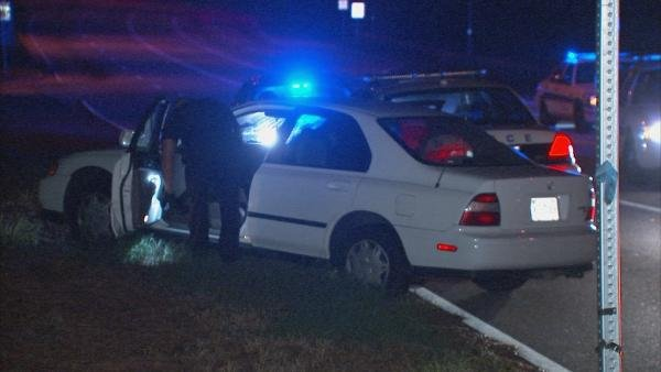 Mark Melvin/CBS Atlanta- Two suspects crashed after fleeing from police early Wednesday.
