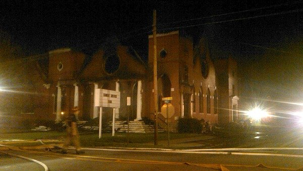 Mark Melvin/CBS Atlanta- The Sanctuary of the Holy Spirit in Winder was destroyed by fire Thursday night.