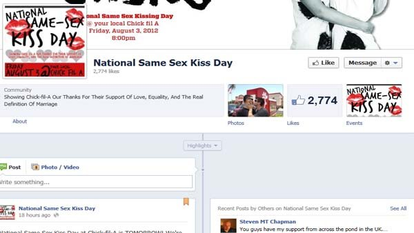 Facebook page for National Same Sex Kiss Day