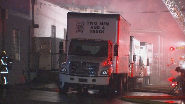 Mark Melvin/CBS Atlanta- Moving trucks were spared most of the damage from the flames early Tuesday.