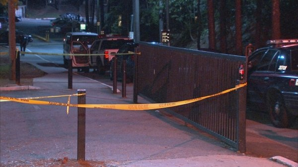 Mark Melvin/CBS Atlanta- Crime scene tape marks the area where police investigated a double shooting Tuesday night.