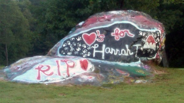 'RIP Hannah T' spray painted on &quot;the rock&quot; just off campus