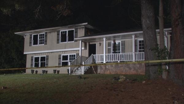 Mark Melvin/CBS Atlanta- Fire gutted this DeKalb County home late Sunday.
