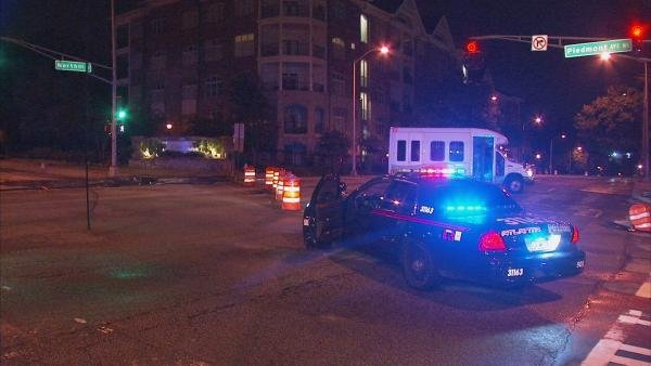 Mark Melvin/CBS Atlanta- Police block the intersection as crews repair the damaged pole.