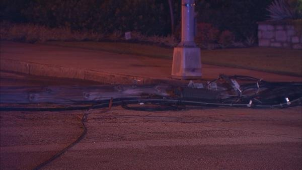 Mark Melvin/CBS Atlanta- The pole carried cable and phone wires.  No outages were reported in the area.