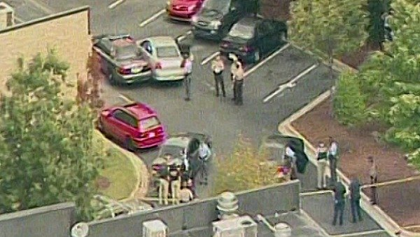 Scene of the shooting from CBS Atlanta's Sky Eye
