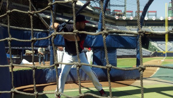 Uggla during batting practice