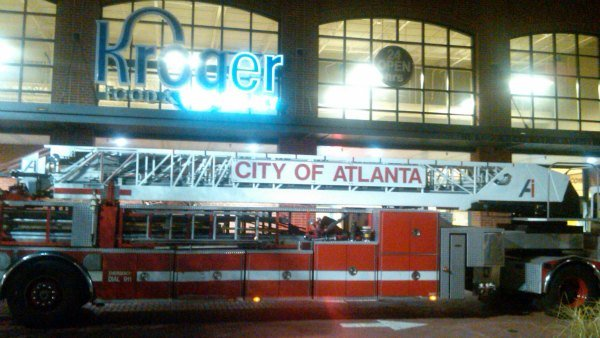 Mark Melvin/CBS Atlanta- Sprinklers at a northeast Atlanta Kroger store kept a storage room fire in check Thursday.