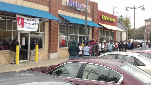 Line outside of hiring center