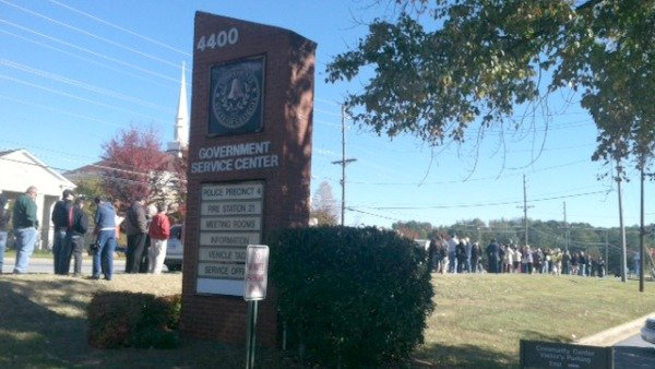 Long line for early voting in Cobb County
