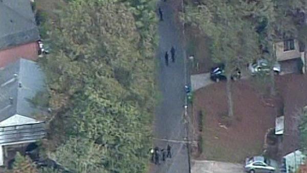 CBS Atlanta Sky Eye flies over the scene of the fatal shootings