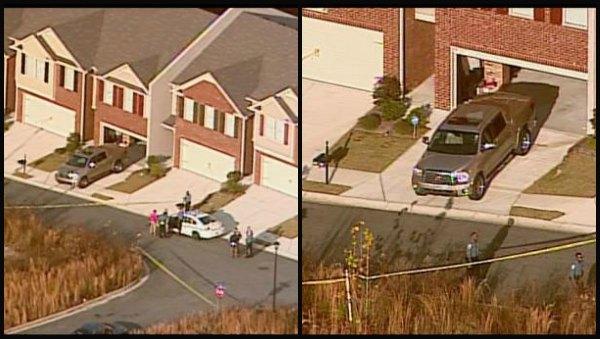 Aerials of the crime scene from CBS Atlanta's Sky Eye