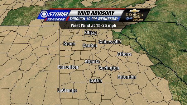 Wind Advisory through 10 PM Wednesday