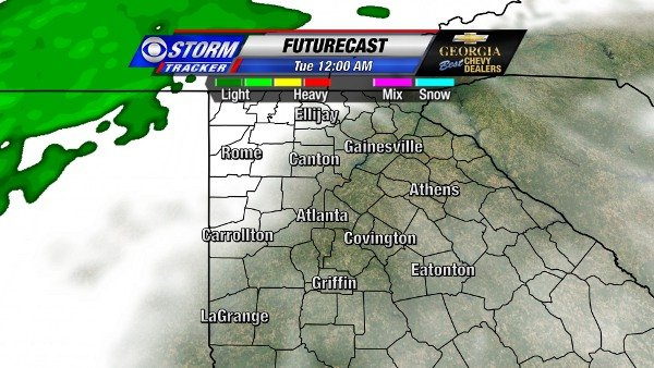 Futurecast for 12 AM New Year's Day