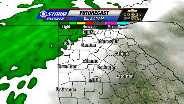 Futurecast for 2 AM New Year's Day
