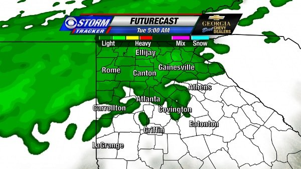 Futurecast for 5 AM New Year's Day