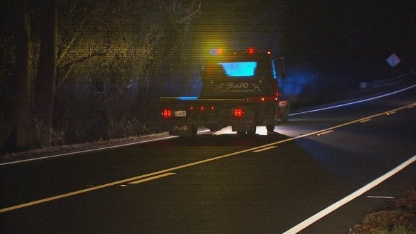 Mark Melvin/CBS Atlanta- A man was struck by a car after he ran off the road early Tuesday.