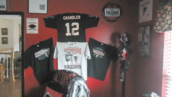 Luthersville man's Falcons man cave