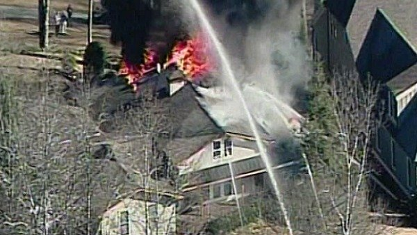 Aerial view of the house fire