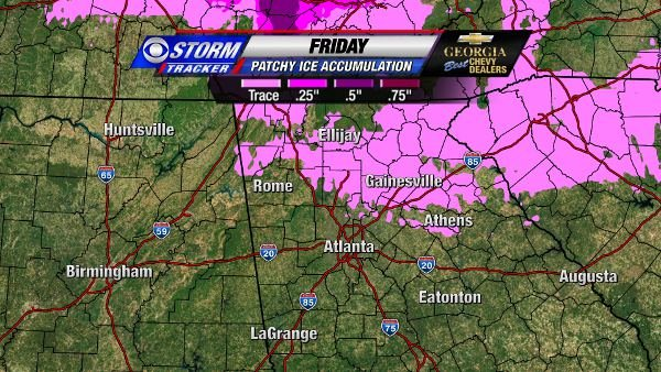 Patchy Ice Accumulations on Friday