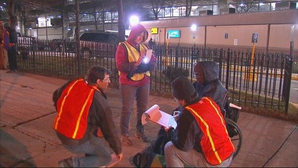 Mark Melvin/CBS Atlanta- Volunteers met overnight to count the city's homeless.