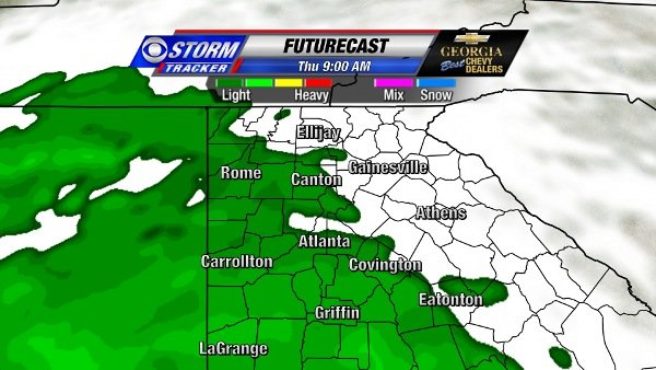 Futurecast for 9 AM Thursday