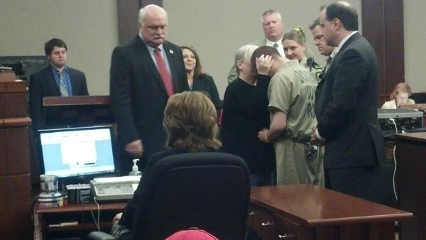 Laura Prince and Gevin embrace in court
