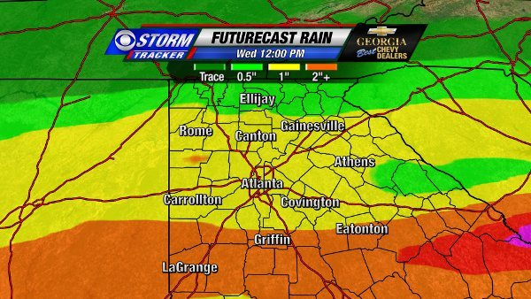 Futurecast Rain through Wednesday