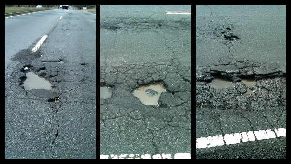 Potholes on Mountain Industrial Boulevard in Tucker