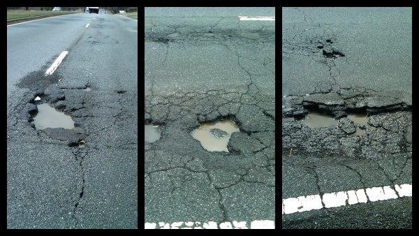 Potholes on Mountain Industrial Boulevard in Tucker