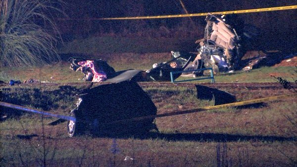 Mark Melvin/CBS Atlanta- Debris was scattered over a wide area after a fatal crash south of Covington.