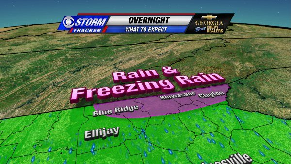 Rain and Freezing Rain Expected in NE Georgia