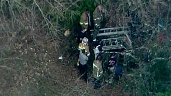 CBS Atlanta's Sky Eye flies over the rescue effort