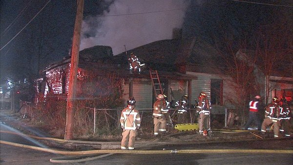 Mark Melvin/CBS Atlanta- Crews pulled a man from a burning home early Monday.