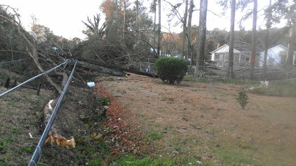Downed power lines in Silver Creek, Ga.