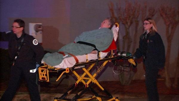 Paramedics took a nursing home resident to a hospital to be treated for a minor injury.