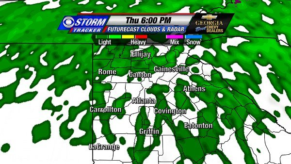 Futurecast for 6 PM Thursday