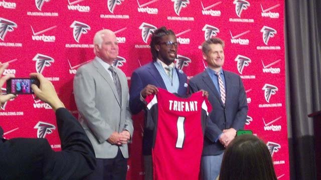 Head Coach Mike Smith, Desmond Trufant, GM Thomas Dimitroff